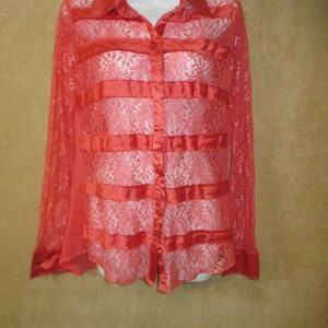 BKE Boutique woman's blouse lace size M